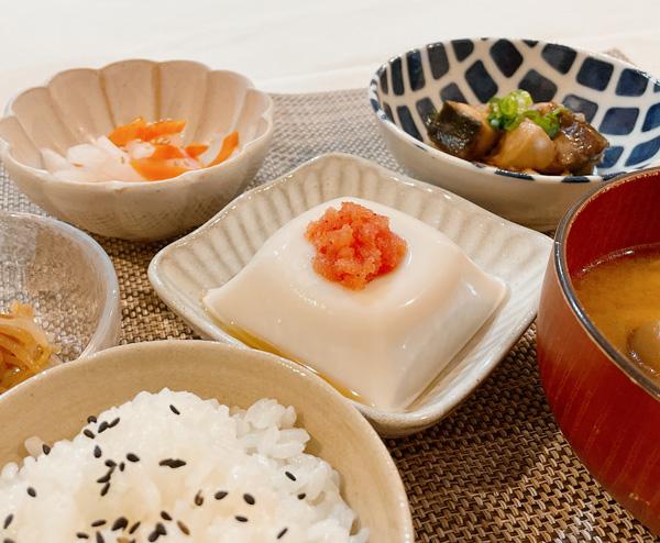 ごま豆腐と明太子×ごま油